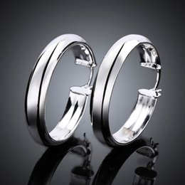 Wholesale Mexican Silver Hoop Earrings - Unique Thick Circles earrings 925 sterling solid silver e595 Fashion 2015 New Jewelry accessary