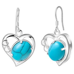 Wholesale Turquoise Heart Stud Earrings - 925 silver jewelry earrings NEW heart-shaped Turquoise Earrings Silver jewelry export spot