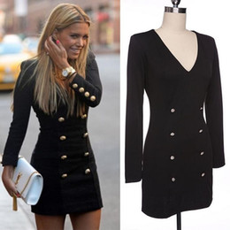 Wholesale Double Breasted Skirt Coat - Dress Europe US hot style pencil skirt personality fashion long-sleeved dress buttons putting woman double-breasted coat v-neck DHL 50pcs