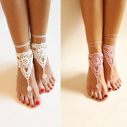 Wholesale Belly Dancing Dance Sandals - crochet barefoot sandals Nude shoes Foot jewelry Bridesmaid accessory Yoga shoes  Beach accessory Beach wedding Belly dance Anklet