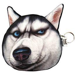 Wholesale Cute Huskies - Wholesale- Cute Lovely 3D Dog Face Zipper Case Coin Girl Purse Wallet Makeup Bag Pouch Huskies