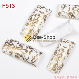 Wholesale Gold Nail Strips - 100pcs Gold strips nail art work pattern design half cover french nail art tips acrylic half false nails art fake nail tips F513