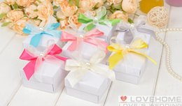 Wholesale Hot Box Events - 50pcs lot Colorful Rirbbon Wtih Bow Square Candy Boxes Wedding Events Favor Holders Gift Box 2015 Hot Sale