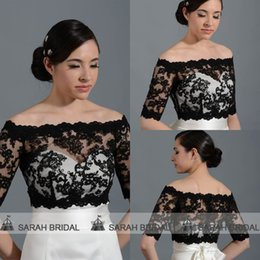 Wholesale Black Bridal Lace Bolero Jacket - 2015 Black Lace Bridal Wraps Jackets Off The Shoulder Half Sleeve Zipper Wedding Coats Bolero Shrug Shawl Real Pictures Custom Made PJ014