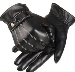 Wholesale Thin Gloves For Men - Wholesale-2015 New Winter Warm Gloves Men Leather Gloves fingerless gloves Men Thin Section Plus Velvet Gloves for Touchscreen