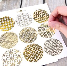 Wholesale printed paper tags - New 90pcs gold design Food Tags Labels Gift Tag Stickers birthday Home Decoration Tag Adhesive Sticker Paper