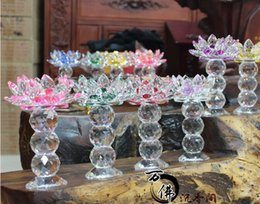 Wholesale Crystal Ball Holder Stand - beautiful Amethyst Crystal Candle Holder with 3 Crystal balls colourful Crystal lotus flower base Candle Holder(size:H16XW12cm,hole:4cm)