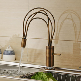 Wholesale Kitchen Sink Mixer Tap Water - Antique Brass Deck Mounted Flexible Spout Kitchen Sink Faucet One Lever Hot and Cold Water Mixer Tap