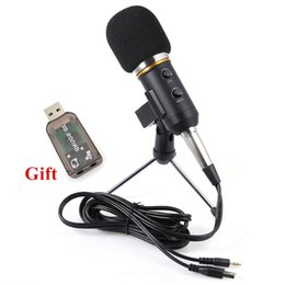 Wholesale Usb Handheld - MK-F200FL Professional Handheld Condenser Microphone USB Computer Microphone Stand Tripod Wired 3.5mm Jack For Recording Studio