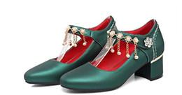 Modello di scarpe da ballo online-Primavera e l'estate dolce fibbia scarpe con tacco alto con Beaded una rozza documentario di tutti i modelli di moda scarpe da ballo