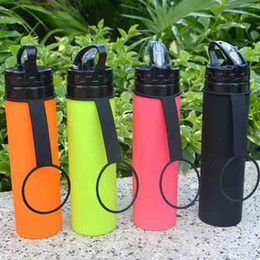 Wholesale Type Rope Lighting - Silicone Products Portable Folding Bicycle Kettle Light Weight Collapsible Bottle MTB Telescopic Cup Sports Water Bottles Outdoor Riding