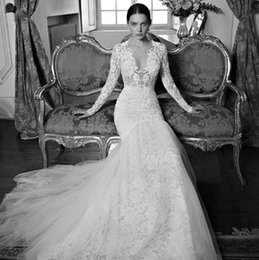 Wholesale Delicate Mermaid V Neck - Delicate Berta Bridal Gowns With Deep V-Neck Ivory Lace Long Sleeves Mermaid Plus Size Wedding Dresses See Through 2016