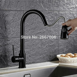 Wholesale Black Single Handle Kitchen Faucet - Wholesale- Free Shipping Spout Pull out taps cozinha faucet Black Swivel Spout Kitchen Faucet Single Handle Vessel Sink Mixer Tap ZR355