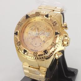 7cff40718ed Mens Grande mostrador relógios luxo ouro inoxidável Pro Diver SS Speedway  relógios de pulso de quartzo Invicta marca Analog Army Militar relógios  masculinos ...
