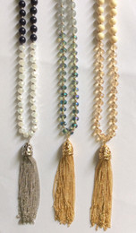 Wholesale Y Pendant - 8MM smooth and faceted glass beads tassel necklace cream navy grey colours rhodium shinny gold plated chain Y shape