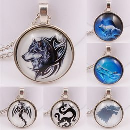Wholesale Photos Gemstones - A song of ice and fire power game stark wolf badge necklace gemstone necklace Langtou time Photo Glass Cabochons necklace
