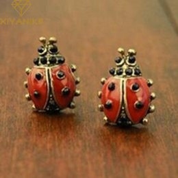 Wholesale Ladybug Jewelry Vintage - Hot sales Fashion simple Exaggerated Vintage Cute Life Like Vintage Ladybug Animal earring Jewelry Cheap wholesale XY-E115