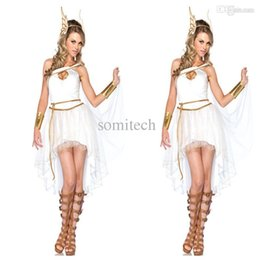 Wholesale Halloween Greek Goddess - Wholesale-2015 New Arrival Greek Goddess Costume Fancy Dress Cosplay White Fairy Halloween Costumes Free Shipping Wholesale