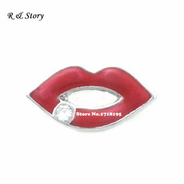 Wholesale Silver Tone Metal Charms Wholesale - Red Kiss Lips Floating Charms for Memory Lockets, enamel, silver tone metal charm LFC_596