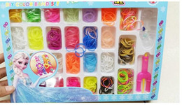 Wholesale Christmas Rubber Band Loom Kits - Christmas Frozen Rainbow Loom Bands Fun DIY Loom Rubber Kit Colorful Bracelets Charm Bracelet For Children Toy Gift multicolor 376