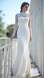 Wholesale married pictures - 2018 E-Marry High Neck Lace Sheath Wedding Dress Bridal Gown Simple White Dress Court Train Long Sleeves Bridal Gown