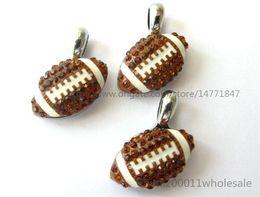 Wholesale Rhinestone Football Beads - 10pcs DIY Rhinestone American football Hang pendant charms 15x15mm Fit DIY Necklace  Key chain s Phone strip DIY Bracelet HC359