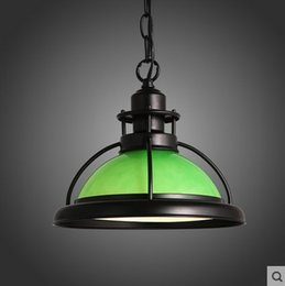 Wholesale Vintage Green Lamps - American Country Style LED Vintage Pendant Lamp For Dinning Room Glass Lampshade ,Lamparas De Teto Techo Colgantes