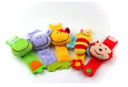 Wholesale Boys Plush Toys - Wholesale- 1Pair Baby Plush Wrist Strap Bebe Bee Monkey Cow Sheep Infant Soft Handbells Rattles For Boy Girl Kids Finders Developmental Toy