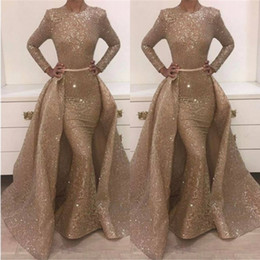 Wholesale Evening Dresses Detachable - Amazing Sparkle Long Sleeves Sequins Evening Dresses Mermaid Overskirt 2018 Popular Illusion Long Celebrity Formal Wear Gowns Prom Dresses