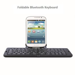 Wholesale Mobile Bluetooth Wireless Keyboard - Wholesale-Ultrathin Bluetooth Foldable Full-size Keyboard Chiclet Wireless Keyboards Mini Keyboard For Mobile Phones Laptops