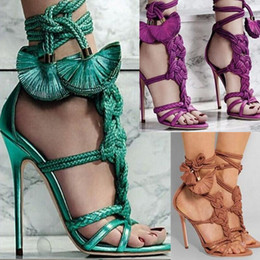 Wholesale Tassel Braiding - Hot Selling Plus Size Women's Brand Shoes Knotted Braided Tassel Lace Up High Heels Sandals Shoes for Women Wedding Pumps Shoes
