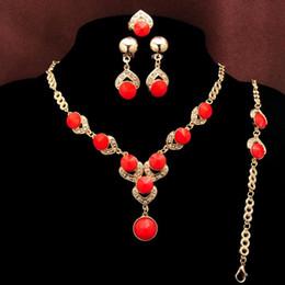Wholesale Gold Ring Aquamarine - Newest fashion 18k Gold Plated Blue Red Orange Green beads Aquamarine Necklace Bracelet Earring Ring Wedding Jewelry Set lady