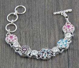 Wholesale Mini Charm Bracelets - diy giner snap button 12mm mini ginger snap jewelry 6pcs lot new women 5 button metal ginger snap button bracelet rhinestone silver charm