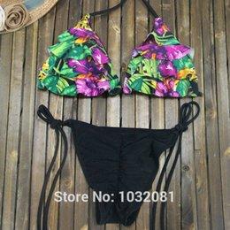 Wholesale Sexy Scrunch Butt Bikinis - 2016 Sexy triangle floral bikini scrunch butt bottom trikini swimsuit swimwear women bathing suit bather biquini Brazilian