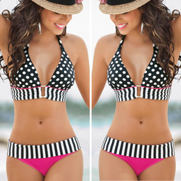 Wholesale Stripe Bikini Set - 2015 Sexy Women Polka Dot Stripes Bandage Bikini Push-Up Swimsuit New Fashion Swimwear Retro Vintage Push Up Newest Women Bikini Set SW216