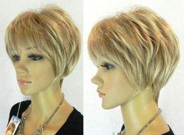 Новая мода короткие светлые волосы парик для женщин короткие прямые светлые парик от Поставщики парик шнурка смешанной длины