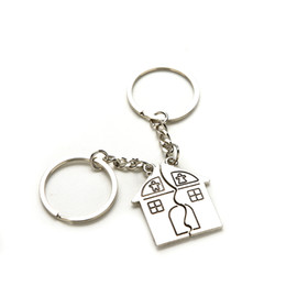 Wholesale Valentine Movie - 10Pair New Couple I Love You Lovers Keychain Warm House Type Key Ring Souvenirs Valentine S Day Gifts Built With Love Home Alloy Keychain