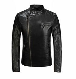 Wholesale Argyle Ribbon - M-XXXL men's fashion stand-up collar jacket printing autumn 2016 new high quality PU leather casual jacket