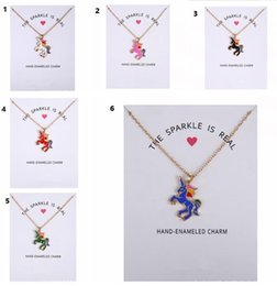 Wholesale Colored Glaze - New Dogeared Necklace With Card Rainbow Unicorn Colored Glaze Horses Pendant Noble and Delicate Silver Choker Valentine Day Gift 5