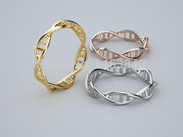 Wholesale Chemistry Wholesale - Wholesale-Wholesale Plating Silver DNA Ring ,Plating Silver Chemistry Ring, Science Ring, Molecule Ring 12pcs lot