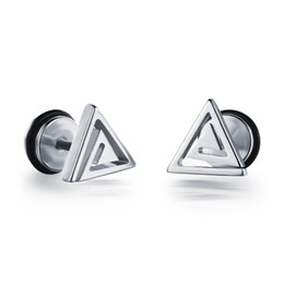 Wholesale Barbell Earrings - 8MM Simple Hollow Spiral Triangle Earrings Barbell Tunnel Screw Backs 1pair
