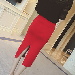 Wholesale Hip High Slit - New Autumn 2016 Korean Slim Hip Slit Female High Waist knitted Medium Step Pencil Skirt Free Shipping Solid Color Saia Longa