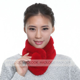 Wholesale Purple Neckerchief - Fur Scarf for Women Real Rex Rabbit Fur Ring Ball Scarf Lady Neckerchief Warm Neck Scarves New 2016 Winter Fashion Natrual Real