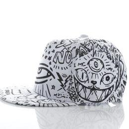 Wholesale Wholesale Flat Bill Hats - Modern Fashion Vintage Baseball Flat Bill Hat Hippie Eye Hiphop Adjustable Cap Free Shipping Feb18