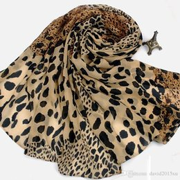 Wholesale Scarf Leopard Color - 2 Color Generous Leopard Scarf poncho chiffon shawls and scarves Warmful Pashmina Fall kerchief Winter Cape European Fashion