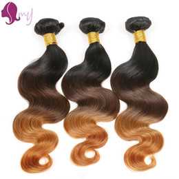 Wholesale 27 Pieces Human Hair - Brazilian Body Wave Ombre virgin Hair 1B 4 27#Ombre Hair Extensions 100% unprocessed Remy Human Hair extentions 3bundles