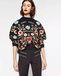 Wholesale Industry Shorts - Wholesale- Europe and the United States Fashion Flower Embroidery Ukraine Heavy Industries Free Shipping Flower Short Sweater MY-04