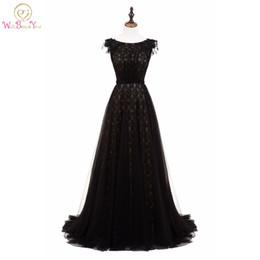 2019 linha de caminhada Walk Beside You preto vestidos de noite Lace frisada robe soiree longue femme 2017 elegante a linha até o chão vestidos de baile em estoque desconto linha de caminhada