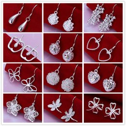 Wholesale Earring Heart Small - Mixed style 925 sterling silver plated dangle chandelier earing Small Solid Heart butterfly clover charm Earrings for women jewelry