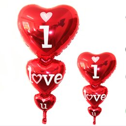Wholesale I Love Romantic - 128cm*60cm Romantic Heart I Love You Balloons foil Valentine's day Wedding Birthday party Big Balloons Inflatable Toys Classic